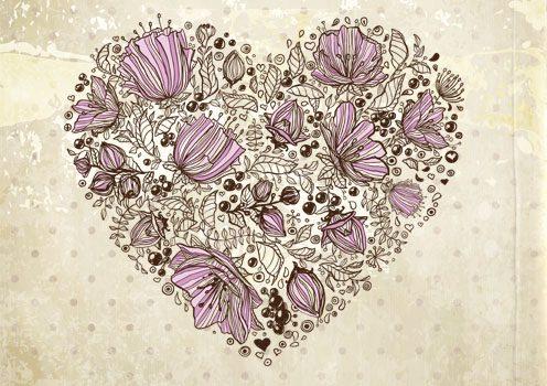 وکتور قلب و گل لایه باز