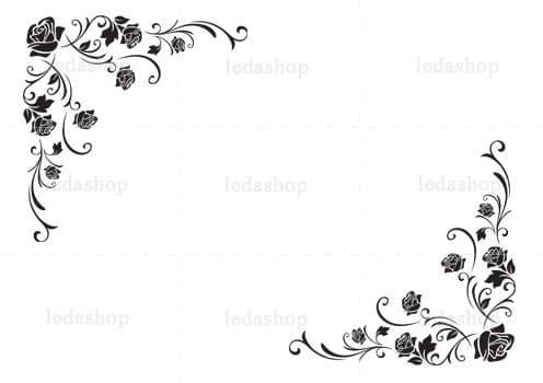 وکتور حاشیه گوشه گل رز لایه باز