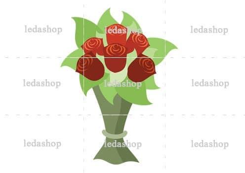 وکتور دسته گل رز قرمز لایه باز