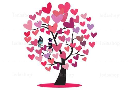 وکتور درخت عشق لایه باز