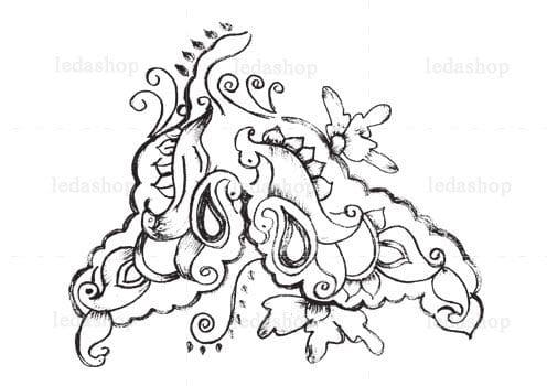 وکتور گل و بوته سیاه و سفید