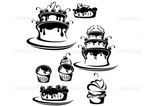 وکتور شیرینی و کیک لایه باز
