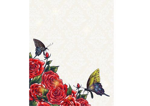 وکتور گل و پروانه لایه باز